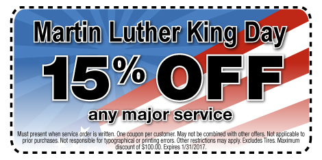 Martin Luther King Day 15% Off Any Major Service at Berman Nissan of Chicago
