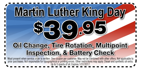 Martin Luther King Day $39.95 Oil Change, Tire Rotation, Multipoint Inspection, & Battery Check at Berman Nissan of Chicago