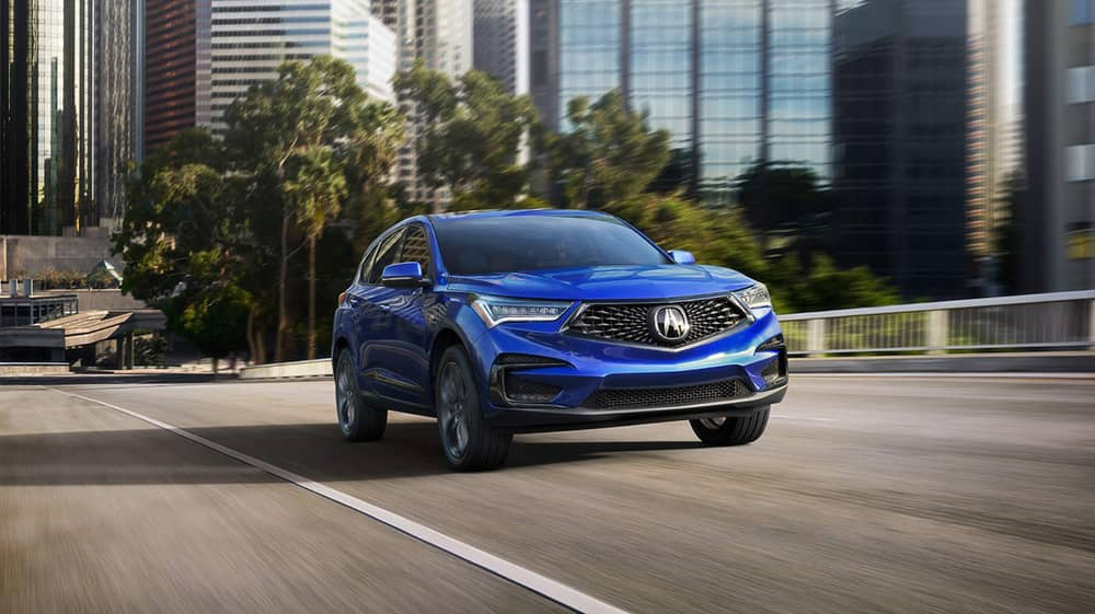 Front view of blue 2019 Acura RDX