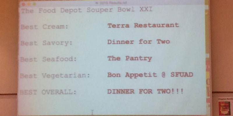 Winners of SouperBowl Event